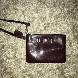 Coach maroon small leather wristlet